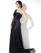 A-Line/Princess One-Shoulder Court Train Charmeuse Lace Mother of the Bride Dress (008006279)