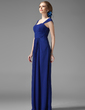 A-Line/Princess Scoop Neck Floor-Length Chiffon Bridesmaid Dress With Ruffle (007013956)