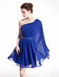 A-Line/Princess One-Shoulder Short/Mini Chiffon Homecoming Dress With Ruffle Beading (022009090)