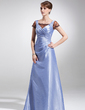 A-Line/Princess Square Neckline Floor-Length Taffeta Lace Mother of the Bride Dress With Ruffle (008016157)