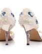 Frauen Satin Kegel Absatz Peep Toe Sandalen mit Nachahmungen von Perlen Strass Kristallabsatz (047031208)