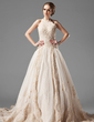 Ball-Gown Halter Chapel Train Tulle Lace Wedding Dress With Beading (002000154)