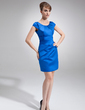 Sheath/Column Scoop Neck Short/Mini Satin Mother of the Bride Dress With Ruffle (008006570)