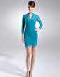 Sheath/Column V-neck Short/Mini Lace Mother of the Bride Dress (008015694)