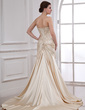 A-Line/Princess Sweetheart Court Train Charmeuse Wedding Dress With Ruffle Beading Appliques Lace (002011551)