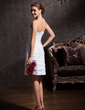 Sheath/Column Strapless Knee-Length Taffeta Wedding Dress With Lace Beading (002011535)