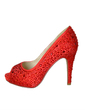 Kadın Satin İnce Topuk Peep Toe Platform Pompalar Ile Yapay elmas (047057362)