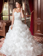 Ball-Gown Sweetheart Chapel Train Organza Wedding Dress With Ruffle Lace Beading Sequins (002011636)