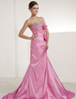 A-Line/Princess Sweetheart Sweep Train Taffeta Prom Dress With Ruffle Beading (018022451)