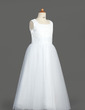 A-Line/Princess Tea-length Flower Girl Dress - Tulle/Sequined Sleeveless Square Neckline With Ruffles (010007313)