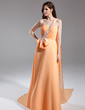 A-Line/Princess One-Shoulder Watteau Train Chiffon Prom Dress With Ruffle Beading (018015597)