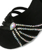 Satin Heels Sandals Latin Ballroom Wedding Party Dance Shoes With Rhinestone Ankle Strap (053018644)