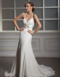 A-Line/Princess V-neck Chapel Train Chiffon Lace Wedding Dress With Beading (002001705)