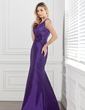 Trumpet/Mermaid V-neck Floor-Length Taffeta Bridesmaid Dress With Ruffle Flower(s) (007000884)