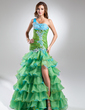 Trumpet/Mermaid One-Shoulder Floor-Length Organza Prom Dress With Beading Appliques Lace Split Front Cascading Ruffles (018017364)