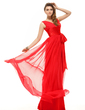 A-Line/Princess V-neck Floor-Length Chiffon Holiday Dress With Ruffle Bow(s) (020016067)