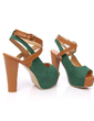 Leatherette Chunky Heel Sandals Platform With Buckle shoes (087015208)