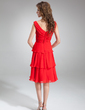 A-Line/Princess V-neck Knee-Length Chiffon Bridesmaid Dress With Ruffle Flower(s) (007000938)