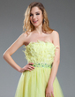 A-Line/Princess Strapless Asymmetrical Tulle Prom Dress With Beading (018018830)