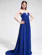 Empire Sweetheart Sweep Train Chiffon Evening Dress With Ruffle Beading (017022716)