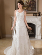 A-Line/Princess V-neck Chapel Train Satin Organza Wedding Dress With Beading Appliques Lace (002000383)