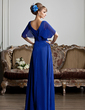 A-Line/Princess V-neck Floor-Length Chiffon Mother of the Bride Dress With Ruffle Beading (008013809)