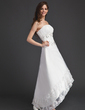 A-Line/Princess Strapless Asymmetrical Organza Wedding Dress With Ruffle Lace Beading Sequins (002011491)