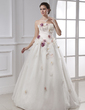 Ball-Gown Strapless Floor-Length Organza Wedding Dress With Ruffle Beading Flower(s) (002015481)