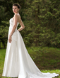 Trumpet/Mermaid Strapless Watteau Train Satin Wedding Dress With Ruffle Beading (002012751)