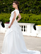 A-Line/Princess Square Neckline Court Train Taffeta Wedding Dress With Ruffle Beading Bow(s) (002001626)