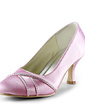 Women's Satin Low Heel Closed Toe Pumps With Rhinestone (047020161)