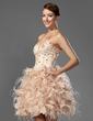 A-Line/Princess Sweetheart Short/Mini Satin Organza Homecoming Dress With Beading Feather Cascading Ruffles (022020669)