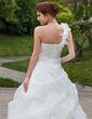 Ball-Gown One-Shoulder Chapel Train Organza Wedding Dress With Ruffle Flower(s) (002000644)