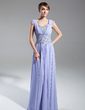 A-Line/Princess Scoop Neck Sweep Train Chiffon Mother of the Bride Dress With Ruffle Lace Beading Sequins (008015390)