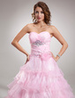 Ball-Gown Sweetheart Floor-Length Organza Quinceanera Dress With Beading Flower(s) Cascading Ruffles (021016368)