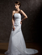 A-Line/Princess Strapless Chapel Train Satin Organza Wedding Dress With Ruffle Lace Beading (002012740)