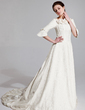 A-Line/Princess Off-the-Shoulder Chapel Train Charmeuse Wedding Dress With Ruffle Beading Flower(s) (002018951)