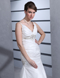 A-Line/Princess V-neck Court Train Taffeta Wedding Dress With Ruffle Beading (002001302)