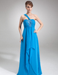 Empire One-Shoulder Floor-Length Chiffon Prom Dress With Beading Cascading Ruffles (018016848)