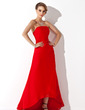 A-Line/Princess Strapless Asymmetrical Chiffon Bridesmaid Dress With Ruffle (007001794)