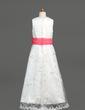 Çan/Prenses Uzun Etekli Çiçek Kız Elbise - Organza/Saten/Dantel Kolsuz Yuvarlak Yaka Ile Kuşaklar/Yaylar) (010005878)