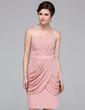 Sheath/Column Sweetheart Knee-Length Chiffon Bridesmaid Dress With Ruffle (007037175)