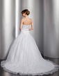 Ball-Gown Sweetheart Chapel Train Satin Organza Wedding Dress With Embroidered Beading (002014762)