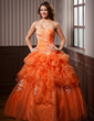 Ball-Gown Sweetheart Floor-Length Organza Quinceanera Dress With Appliques Lace Cascading Ruffles (021004720)