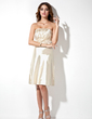 A-Line/Princess Strapless Knee-Length Charmeuse Bridesmaid Dress With Ruffle (007000861)