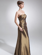 Çan/Prenses Kalp Kesimli Uzun Etekli Taffeta Gelin Annesi Elbisesi Ile Büzgü Boncuklama (008006009)