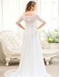 A-Line/Princess Off-the-Shoulder Sweep Train Chiffon Lace Wedding Dress With Ruffle Beading Sequins (002054366)
