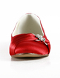 Women's Satin Flat Heel Closed Toe Flats With Rhinestone (047014109)