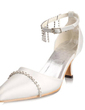 Women's Satin Spool Heel Closed Toe Pumps With Buckle Rhinestone (047010747)