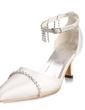 Satin Plastic Heel szpuli Closed Toe Pompy Buty ślubne Z Klamra Rhinestone (047010747)